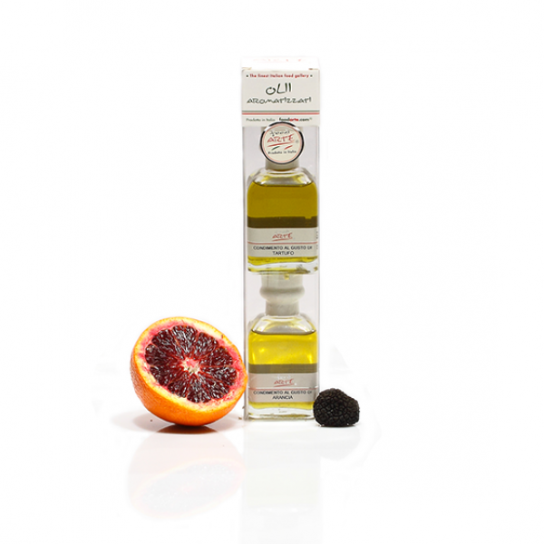 TWO BOTTLES OF EXTRA VIRGIN OLIVE OIL FLAVORED WITH ORANGE and BLACK TRUFFLE