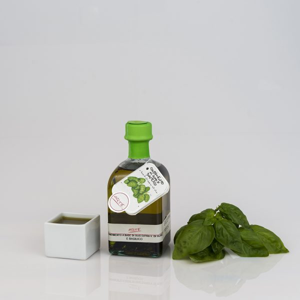 "BASIL FLAVORED EXTRA VIRGIN OLIVE OIL ""QUADROTTA 10cl"""